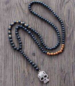 Men Rosary Necklace Matte Black Onyx Wood Skull Pendant Beaded Steampunk Jewelry