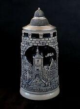 Antique German stoneware cobalt blue salt glazed beer stein bierkrug  0.5 L.