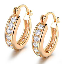 Retro Crystal Zirconia Inlay Yellow Gold Filled Women Lady Dangle Hoop Earrings