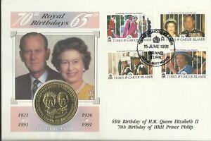 TURKS & CAICOS 1991 ROYAL BIRTHDAYS ONE CROWN COIN COVER