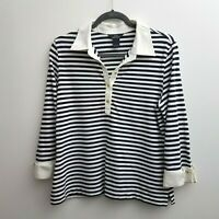 346 Brooks Brothers Womens Knit Shirt Long Sleeve Navy Blue White Striped Large