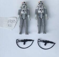 2 1980 Vintage Star Wars AT-AT Driver Action Figures Complete Original Weapons