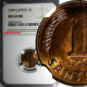 LATVIA Bronze 1939 1 Santims NGC MS64 RB Nice Red Toning BU KM# 10