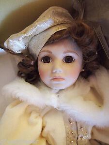 "Franklin Heirloom Porcelain Doll ""ELIZABETH ANN"" 18 Inch w/ White Fur Coat"