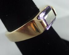 Women's 10k Yellow Gold Solitaire Amethyst Gemstone Fashion Ring or Band Size 5