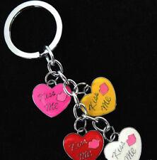 """KEY RING """"KISS ME"""" HEART CHARMS, BAG CHARMS ENAMELLED METAL 3cm  DIAM SPLIT RING"""