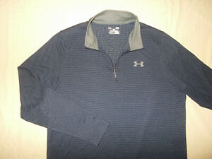 UNDER ARMOUR COLD GEAR 1/4 ZIP LONG SLEEVE BLUE STRIPED SHIRT MENS LARGE EXCELL.
