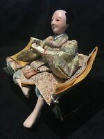 Japanese Seated Musha Ningyo Samurai Gofun Doll #1