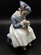 More details for royal copenhagen figurine amager girl knitting sewing 1314 fully marked denmark