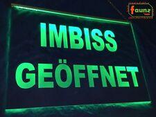 """LED Leuchtschild Hinweisschild Werbeschild Gravur """"Imbiss geöffnet offen"""" grün"""