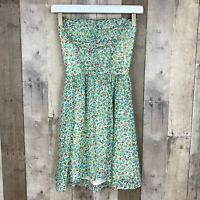 Guess Women Size XS Strapless Dress White Green Floral Tie Open Back NEW