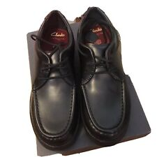 Clarks Crown Tate Black Leather Lace School Shoes In Various Sizes