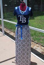 Tampa Bay Rays Short Sleeve Maxi Dress Upcycled T-Shirts S