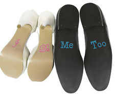 "Set of ""I Do"" ""Me Too"" Crystal Rhinestone Wedding Shoe Stickers, Pink/Blue"