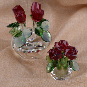 Crystal Rose Figurines Flower Collectible Wedding Mother's Day Gift Ornament New