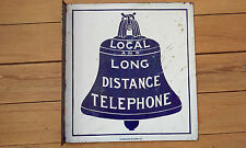 c1900 - 1921  BELL SYSTEM DOUBLE SIDED FLANGED COBALT BLUE PORCELAIN SIGN RARE
