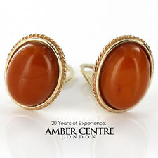 Butterscotch Baltic Amber Clip Earrings In Italian 9ct Gold GCL0032 RRP £500!!!
