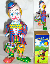 MS363 Clown Drummer Retro Clockwork Wind Up Tin Toy w/Box