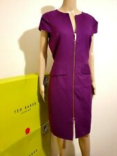 "TED BAKER ""FIDELLE"" DEEP PURPLE ZIP DETAIL DRESS BNWT RRP £179 UK 16TED 5 US 12"