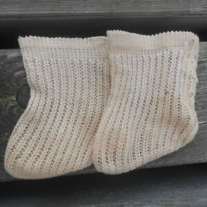 JUMEAU paire chaussettes beige BB taille 11 d'époque XIXème !