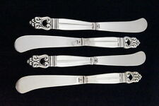 "(4) INTERNATIONAL Royal Danish Sterling Silver Flatware Butter Knives 6"" lv0372"