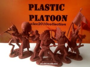 NEW!! PLASTIC PLATOON,INDIAN set 3, the Little Bighorn, rubber soldiers 1:32