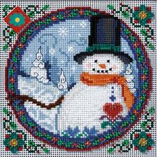 Jim Shore Southern Snowman Beaded Counted Cross Stitch Kit Christmas 5 x 5