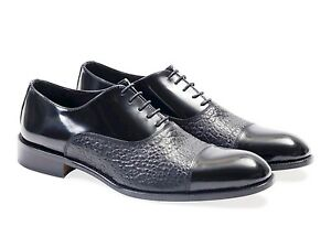 Two Tone Fine Calf Leather Oxford Mens Shoes.100% Leather Made In Italy