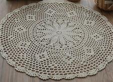 "18"" Round Hand Crochet Ecru Doily Snowflake Table Cloth Centerpiece Runner"