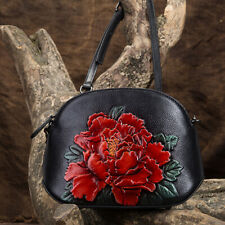 Women Genuine Leather Handbag Floral Vintage Small Crossbody Shoulder Tote Bag