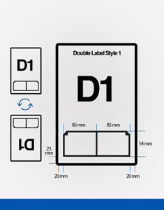 Double Integrated Labels D1 A4 Labels 85mm x 54mm 85m x 54mm Qty 1,000