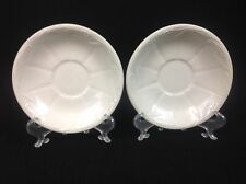 Royal Crownford Weatherby Hanley TWO Orphan Saucers White Wheat Ironstone