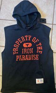 Men's Project Rock Charged Cotton® Sleeveless Hoodie Iron Paradise Black, XLarge