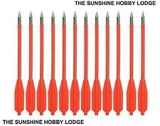 "Pistol Crossbow Bolts Fluro Red 7.25"" ABS Plastic Arrows Steel Tip 50-80LB Bows"