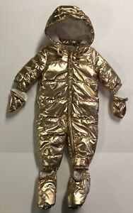 NWT Gymboree Baby Girl Infant Clothes Gold Snowsuit Mittens Shoes & Hood MSRP$68