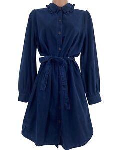 BNWT NEXT dark indigo denim button through belted shirt dress size 10 RRP £42