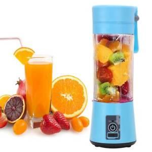 Portable Fruit Juicer Shaker Bottle Electric Juicer Smoothy Maker Blender Blue