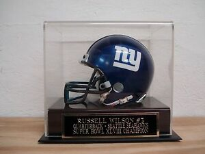 Russel Wilson Football Mini Helmet Case With A Seahawks Engraved Nameplate