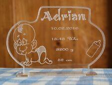 Baby Geburt Aufsteller mit Gravur nach Wunsch: Name Datum Uhrzeit Gewicht Größe