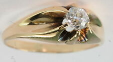 Belcher Set Mine Cut Diamond Solitaire Ring Gents Antique 14k Yellow Gold 1/3 Ct