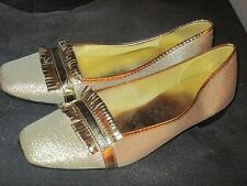 Vintage 1960's Metallic Gold Slipper Shoes Montgomery Ward Size 6.5
