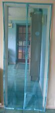 Fly Screen Self Closing Magnetic Door Blue with Top Rod