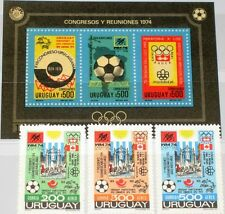 Uruguay 1974 1313-5 Block 21 C395-8 Soccer World Cup NH