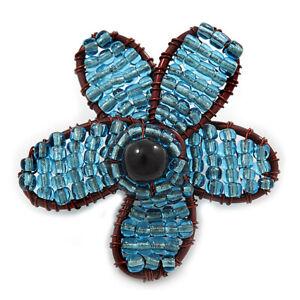 Handmade Light Blue Glass Bead 'Daisy' Brooch In Copper Tone - 55mm Diameter