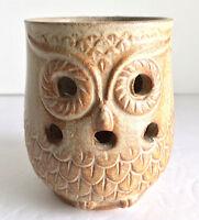 "Owl Shaped Tealight Candle Holder Tan Ceramic Vintage Enesco Japan 4""H EUC"