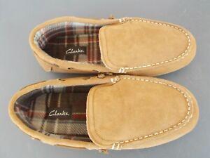 Clarks Men's Suede Venetian Moccasin Slippers #26118084 Brown Size 13 M