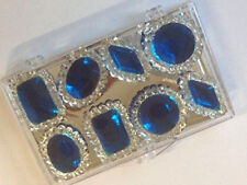 8 Edible Sugar Cake Cupcake Jewels Gems Brooch Diamond Decoration SAPPHIRE BLUE
