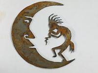 6 inch Kokopelli and Moon Shape Rough Rusty Vintage Metal Art Craft DIY Sign