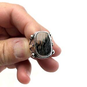 Vintage Navajo Sterling Silver Agate Jasper petrified Wood Southwestern Ring