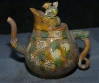 "8 ""Rare Old China Tang Sancai céramique Dynasty Palace Dragon Phoenix Teakettle"